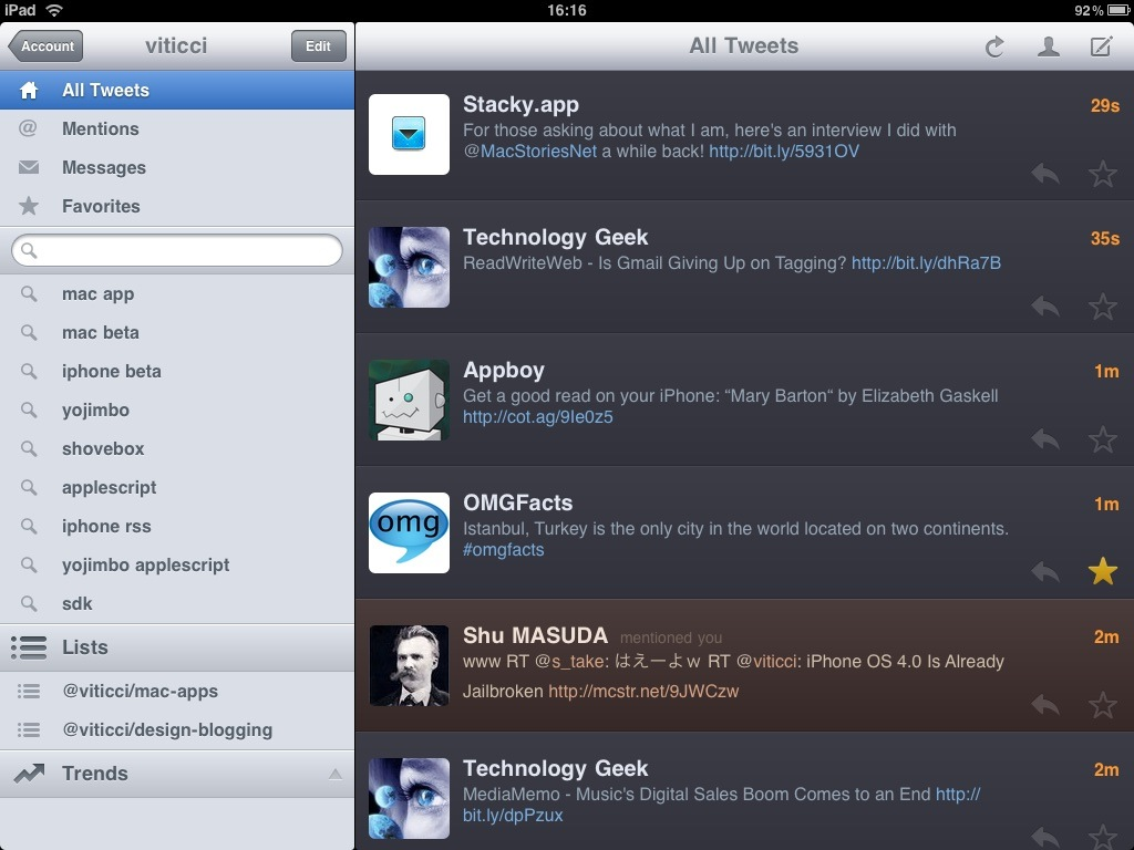 Twitterrific for iPad - Main Landscape
