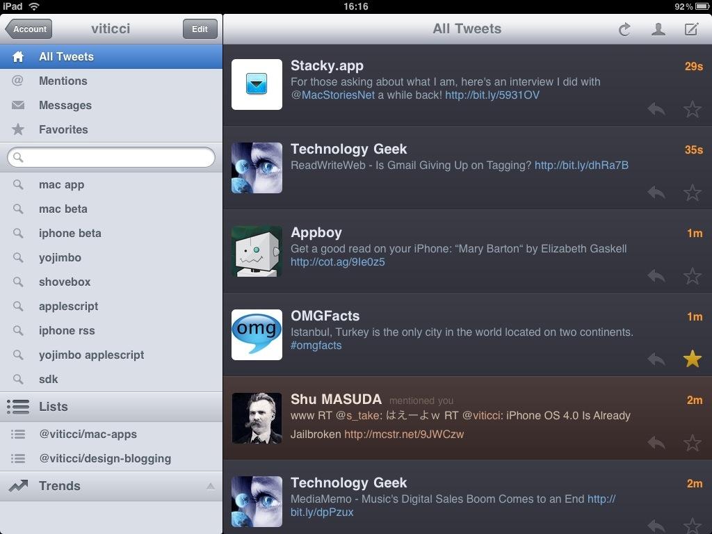 Twitterrific for iPad - Main Landscape
